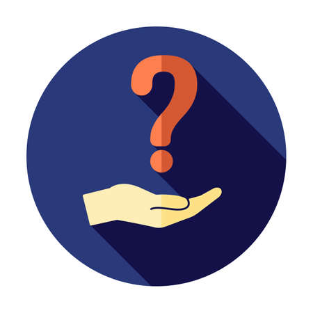 Question hand. Question mark icon holding by hand. Have a questions concept. Faq sign. Conceptual symbol icon. Business problem.  Answer, think. Ask help icon Illustration