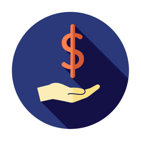 Money in hand icon. Stretched hand symbol. Saving money icon 矢量图像