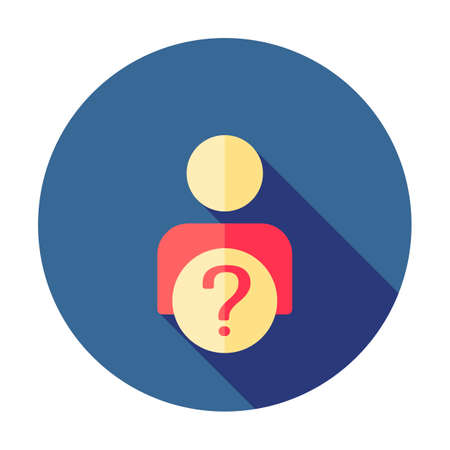 User silhouette with question mark - vector icon. Faq. Question man sign. Person account, profile icon. Account help symbol