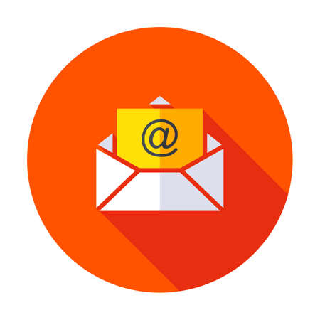 Email icon isolated on grey background. Open envelope pictogram. flat mail symbol for website design, mobile application, ui. Editable stroke. Vector illustration.