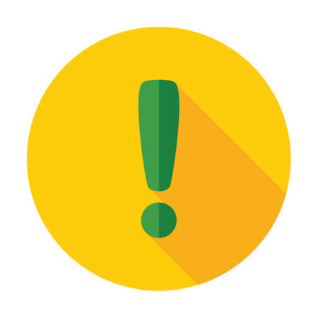 Attention caution sign icon. Exclamation mark. Hazard warning symbol. Flat design button. Vector 矢量图像