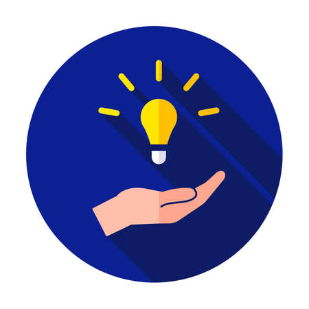 Hand holding light bulb. Smart idea icon isolated. Innovation, solution icon. Energy solutions. Power ideas concept. Electric lamp, technology invention. Human palm. Business inspiration. Stock Illustratie