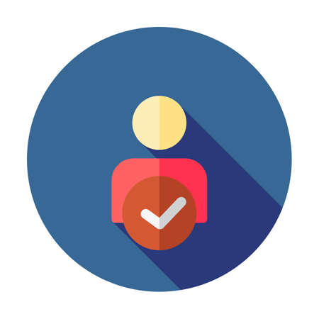 Manage account icon. User profile sign web icon with check mark glyph. User authorized vector illustration design element. Flat style design icon. Account verified icon. Checked verified profile