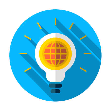 GLOBAL Light bulb icon, vector illustration. Global idea icon. Earth icon. Light bulb icon. Lamp illustration
