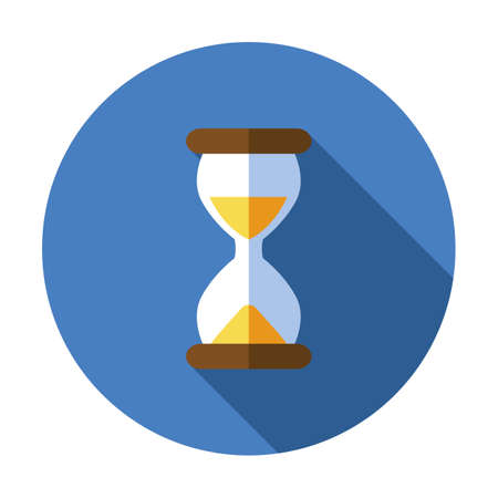 Sand watch flat icon. Hourglass vector. Time symbol. Glass clock timer illustration design. Abstract concept hour, minute symbol object isolated sign. Traditional simple sandglass, old vintage 矢量图像