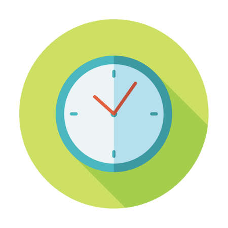 Clock Icon, Isolated. Flat Design