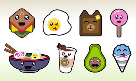 Fun with Food Cute Chibi Vector Art for Planner Sticker Sheets and More 일러스트