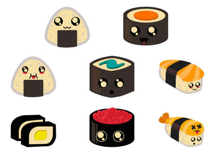 Cute Chibi Sushi Vector Art for Planner Sticker Sheets and More