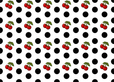 Seamless Polka Dot and Cherries Pattern Vector Art Banco de Imagens - 75636326