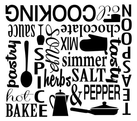 Cooking the the Kitchen Vector Word Art Collage Illusztráció