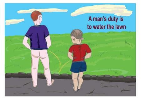 Man watering the lawn humor illustration.