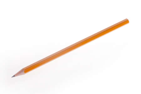 sharp pencil: one yellow and sharp pencil on a white background Stock Photo