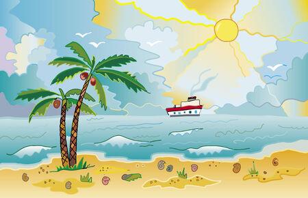 はしけ: ヤシの木や殻と太陽が降り注ぐビーチ  イラスト・ベクター素材