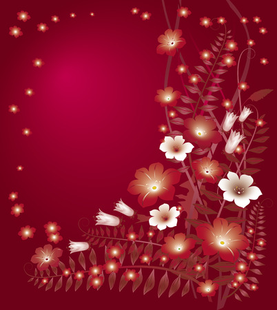 rubin: Delicate floral red background