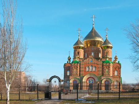 sobor: Cathedral of Grand Prince St Vladimir, Equal-to-the-Apls.   The biggest orthodox temple on the Eastern Ukraine, location  Lugansk  Name in Russian  Vladimirsky sobor   Stock Photo
