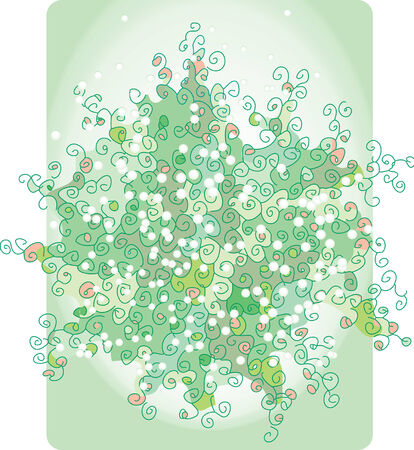 summery: Green abstract bouquet Illustration