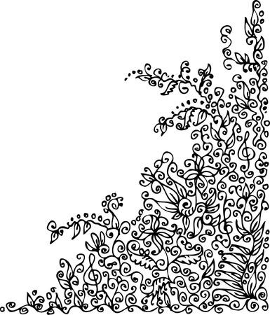 floral vector: Vignette floral refinada. Eau-XI fuerte.