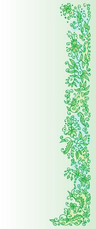 polychromatic: Refined Floral vignette. In Green Color. Eau-forte. Illustration