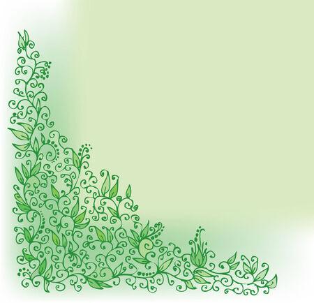 Green vignette. Eau-forte. Vector