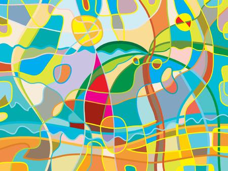 추상 해변 배경입니다. 밝은 색 세련된 재미있는 그림