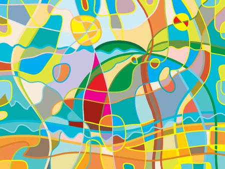 refined: Abstract beach background. Color bright refined  funny illustration