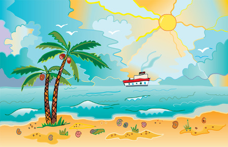 Sunny beach with palms and shells Vector