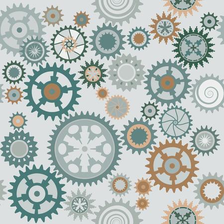 workings: Clock cogwheels seamless pattern background