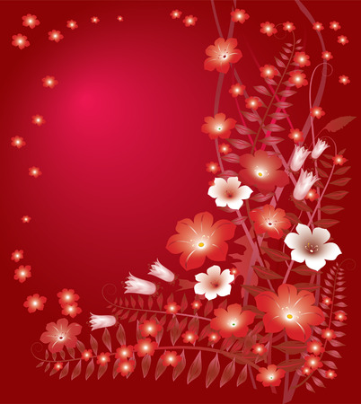 claret: Delicate floral red background