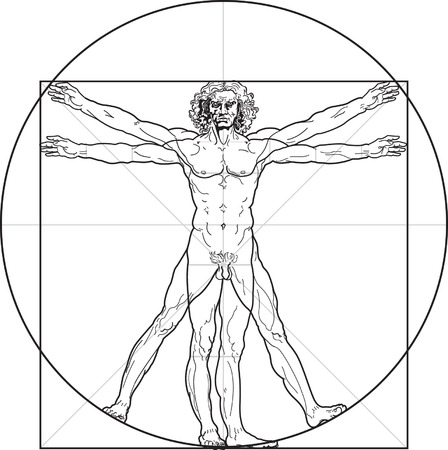 greatness: The Vitruvian man, or so called Leonardos man. Detailed drawing on the basis of artwork by Leonardo da Vinci (executed circa in 1490) by ancient manuscript of Roman master Marcus Vitruvius Pollio.