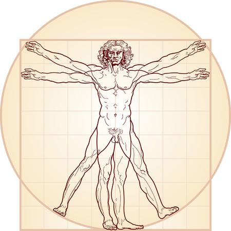 The Vitruvian man. Detailed drawing on the basis of artwork by Leonardo da Vinci (executed circa in 1490) by ancient manuscript of Roman master Marcus Vitruvius Pollio. Varie en colour.