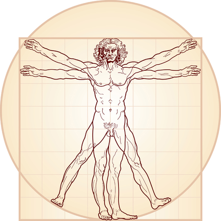 proportion: The Vitruvian man. Detailed drawing on the basis of artwork by Leonardo da Vinci (executed circa in 1490) by ancient manuscript of Roman master Marcus Vitruvius Pollio. Varie en colour.