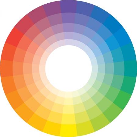 Multicolor spectrale cirkel van 24 segmenten. (De zogenaamde de cirkel van Shugaev).  Vector Illustratie