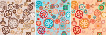workings: Clock cogwheels pattern set Illustration