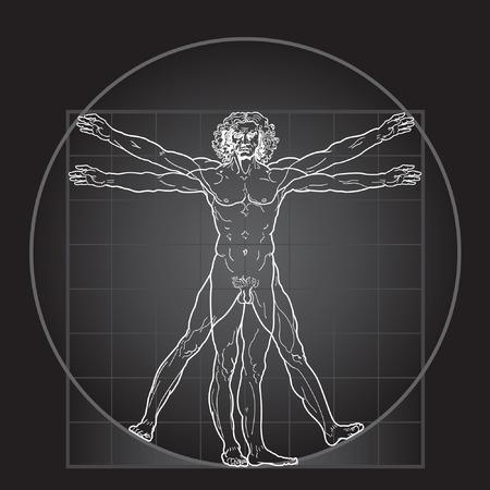 Der vitruvianische Mensch, oder so genannte Leonardos Mann. Detaillierte Zeichnung. Invertieren Sie Version. Illustration