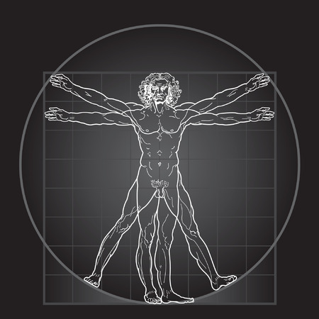 man symbol: The Vitruvian man, or so called Leonardos man. Detailed drawing. Invert version.