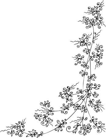 Floral vignette. Eau-forte 287. Vector