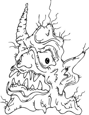 awful: Fantastic Fairy creature. Eau-forte. Illustration