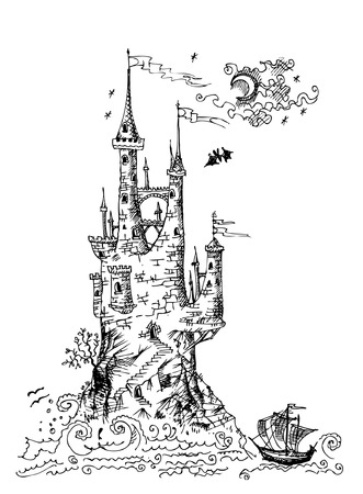 gravestone: Gothic castle Illustration