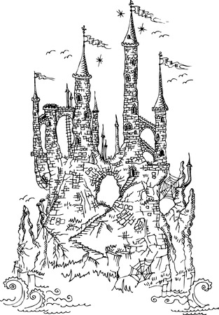 popular tale: Gothic castle from fairytale Illustration