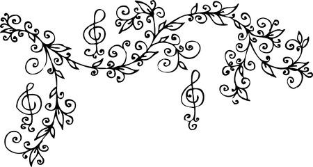 Musical vignette. Eau-forte 301. Vector