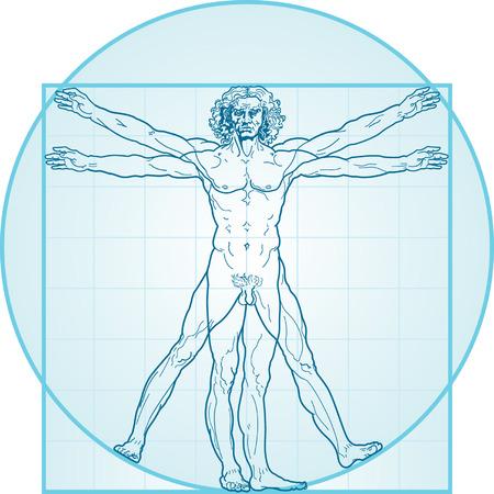 Der vitruvianische Mensch, oder die so genannte Leonardo da Vinci-Mann. Detaillierte Zeichnung. Blaue Version.
