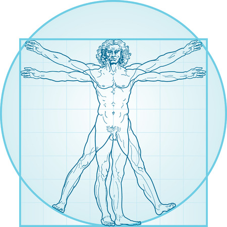 greatness: The Vitruvian man, or so called Leonardo da Vinci man. Detailed drawing. Blue version.