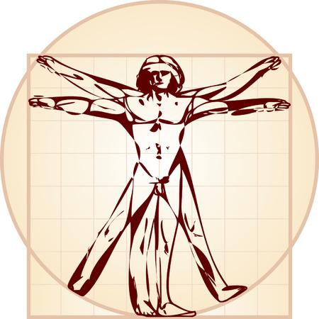 correlation: L'uomo vitruviano. Disegno stilizzato sulla base di disegni di Leonardo da Vinci (eseguita circa nel 1490) da antico manoscritto del maestro romano Marco Vitruvio Pollione
