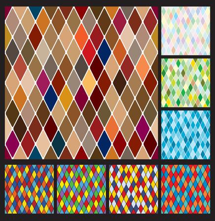 harlekijn: Harlequin patroon set  Stock Illustratie