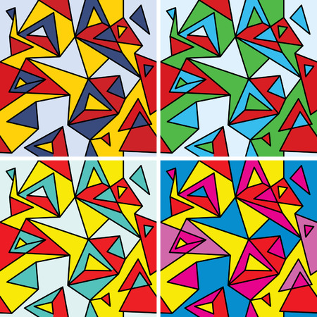 Fragments of the abstraction, cubism and pop-art (seamless pattern set #4) Ilustração