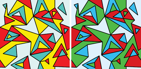 fragments: Fragments of the abstraction, cubism and pop-art (seamless pattern set #2) Illustration