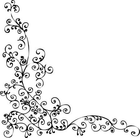 elegant border: Baroque frozen pattern vignette. Eau-forte 010.