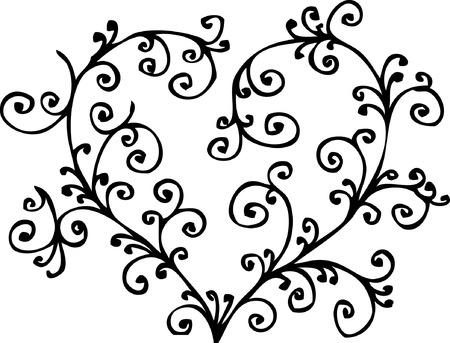 Romantische Herzen Vignette. Eau-Forte 014.