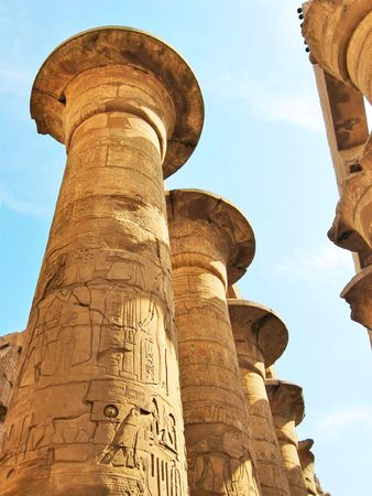 grandiose: Grandiose colonnade of hypostyle hall in the Temple of Amun-Ra in Karnak. Thebean Vally, Luxor, Egypt.