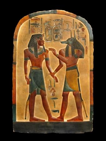 Pharao und Gott der Einbalsamierung Anubis im Königreich der Toten. Ägyptische Palette.